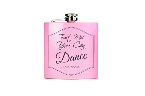 Flachmann pink mit Gravur - Verschiedene Motive - My Valentine is Vodka - Wodka you can Dance Motiv (pink - Wodka You can Dance)