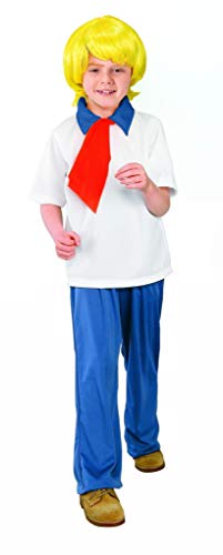 Besserbay Children Halloween Cosplay Party Boys Fun Fred Costume White Shirt Blue Pant for Girls 9-10 Years