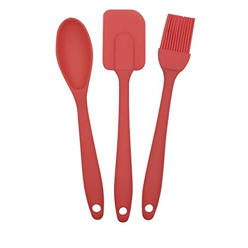 EUROXANTY Set Utensilios de Cocina | 3 Piezas de Cocina | Polipropileno y Silicona | Libre de BPA | Resistencia al Calor | Cuchara, Pincel y espátula | Rojo