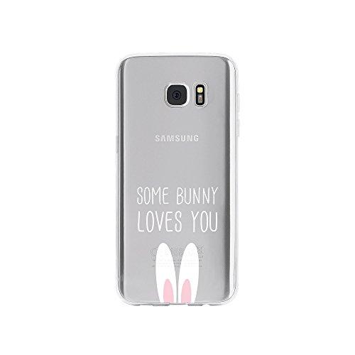 licaso Handyhülle kompatibel für Samsung Galaxy S7 Edge I Schutzhülle aus TPU mit Some Bunny Loves You Print I Transparente Hülle Handy Aufdruck I Weich Silikon Durchsichtig