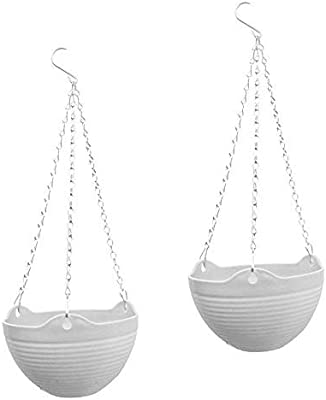 PlantaZee (2 Sets of) Hanging Flower Planter Pots with Chain for Indoor Outdoor Home Decoration