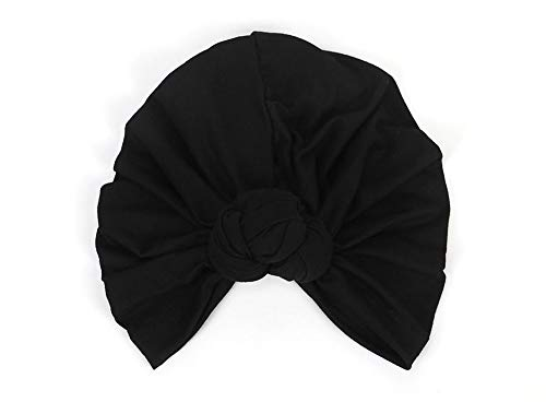 DANMY Women's Autumn Winter Knotted Hat Wrap Cap India's Hat Turban Headwear (A-Black)