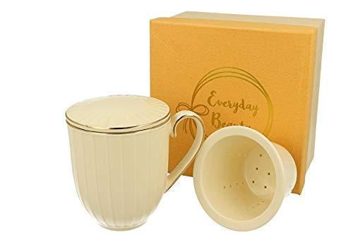 Duo Teetasse mit Teesieb und Deckel Nina Exklusiv 350ml Tee-Tasse Teefilter Teeinfuser Tasse für Tee und Kaffee in Geschenkverpackung Goldrand Cremefarben aus Porzellan Porzellanfilter