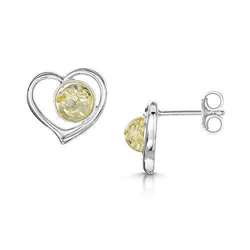 Amberta, orecchini a forma di cuore in argento Sterling 925con ambra baltica e chiusura a perno e Argento, colore: Yellow, cod. S925-BC-5948-EAR-2Y