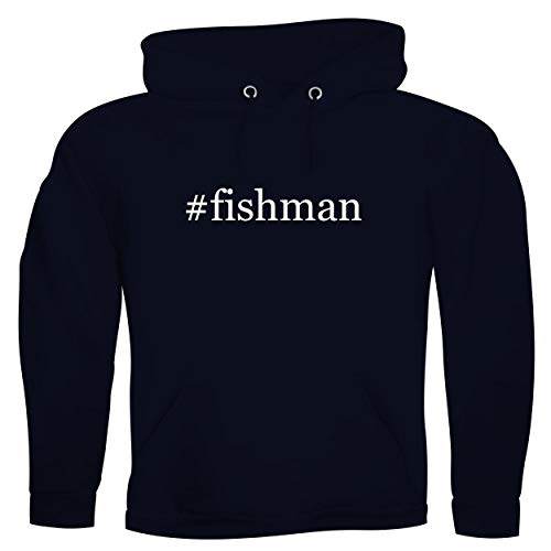 #fishman - Men's Hashtag Ultra Soft Hoodie Sweatshirt, Navy, X-Large