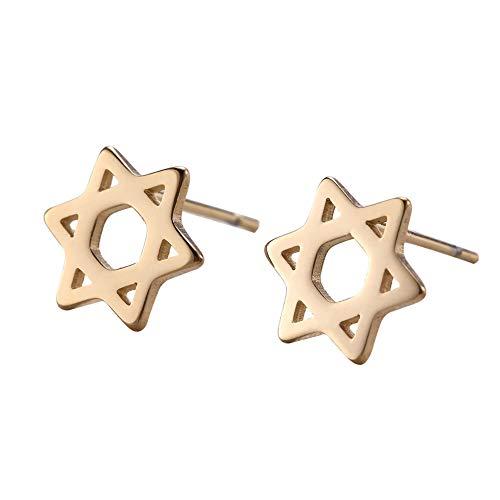 LIKGRAN Pendientes de acero inoxidable con diseño de estrella de David, minimalista, religioso, 3 colores disponibles