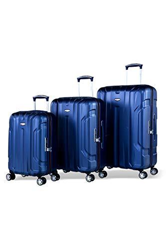 Eminent Koffer-Set X-Tec 3 teilig (Handgepäck Gr. S + Reisekoffer Gr. M&L) Trolley-Set Hartgepäck Ultraleicht Hartschalenkoffer 4 Rollen TSA Schloss leicht Hartschale Trolleys 3 kofferteileg Blau