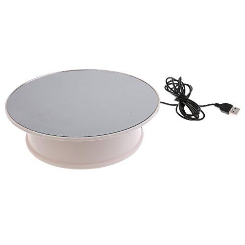 Gazechimp USB Présentoir Rotatif Plateau Tournant Electrique pour Exposition Téléphones, MP4, Montres, Bijoux - Miroir Top Blanc Base