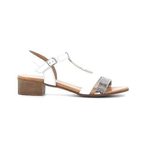 Melluso Sandalo Donna 018826a in Pelle Bianco Notte con Sottopiede in Memory Foam 37