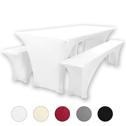 Gräfenstayn® Leopold Stretch - Biertischhussen-Set 3 TLG für Bierzeltgarnitur - 50cm oder 70cm Tischbreite - mit Öko-Tex Siegel Standard 100 :