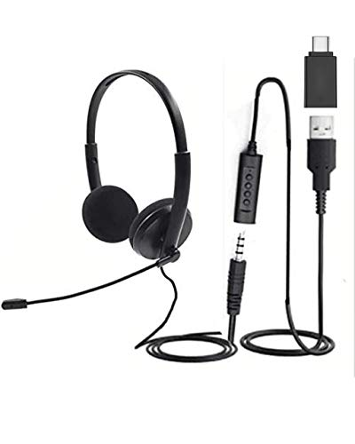 USB, 3.5 and USB-C Quality Sound Headset with Microphone, Noise Cancelling mic, Mute Button LED, Laptop, PC, MAC, Zoom, Skype, Video Conference Calls, Lightweight Headphones with mic Boom