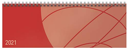 Tischquerkalender Professional Colourlux rot 2021: 1 Woche 2 Seiten; Bürokalender mit nützlichen Zusatzinformationen; Format: 29,8 x 10,5 cm