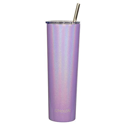 Ezprogear 34 oz Glitter Violet Stainless Steel Slim Skinny Tumbler Vacuum Insulated Travel Mug with Straw (34 oz, Glitter Violet)