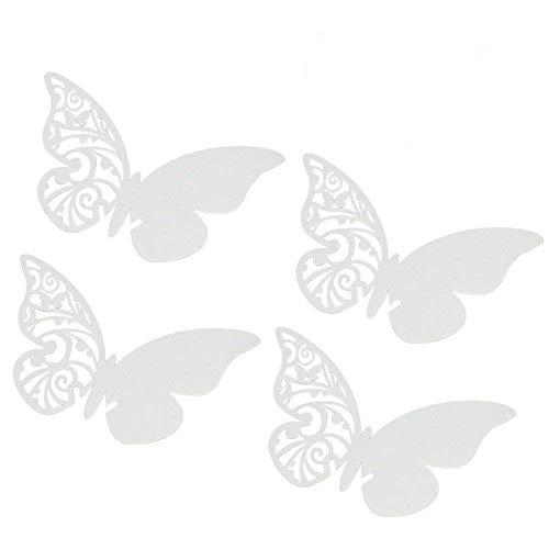 ElecMotive Lot de 50 Papillons 3D Carte de Verre Marque Place Forme de Papillon Ajouré Décoration de Table pour Fêtes Mariage