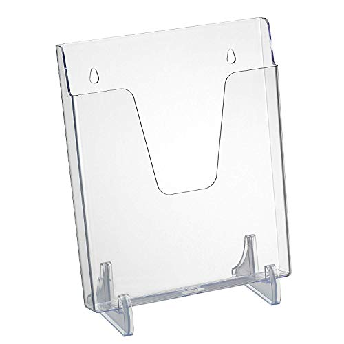 Acrimet Pocket File Holder Vertical Design Brochure Display (for Wall Mount or Countertop Use) (Removable Supports Included) (Letter Size) (Clear Crystal Color)