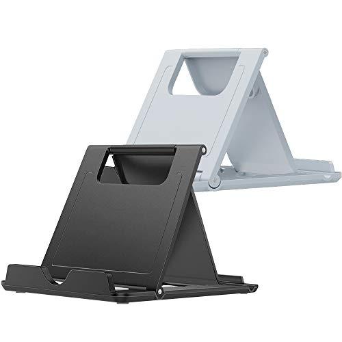 [2つセット] スマホスタンド タブレットスタンド 折りたたみ式 角度調整可能 薄型 軽量 スマホホルダー iPhone/iPad/Androidスマホに対応 (ブラック+グレー)