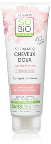 SOBIO Shampoing cheveux doux - Lait d'amande et proteines de riz - Bio - Lot de 2