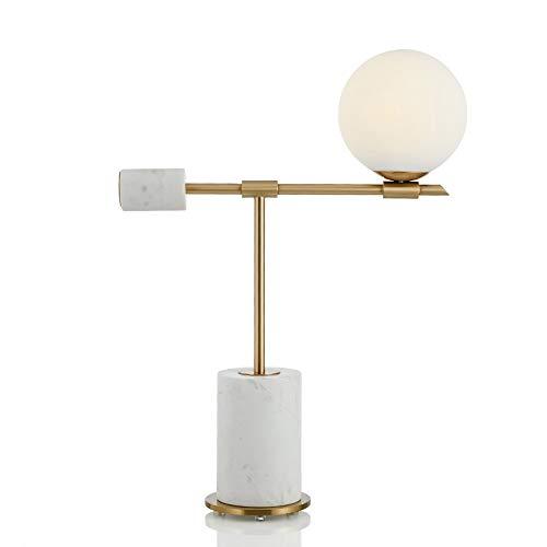 WZHZJ Lámpara de Mesa de mármol Minimalista Moderna lámpara de Mesa de Noche de Dormitorio Modelo Creativo lámpara de Mesa Decorativa esférica de Bola de Cristal