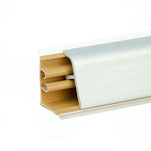 DQ-PP 2,5m + 0,5m GRATIS WINKELLEISTE | Aluminium satin | 37 x 24mm | PVC | GRATIS Schrauben | Küchenleiste Arbeitsplatte Abschlussleiste Leiste Küche Küchenabschlussleiste Wandabschlussleiste