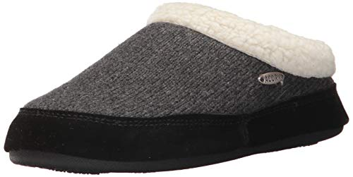 Acorn Women's Mule Ragg Slipper, Dark charcoal heather, Medium Standard US Width US
