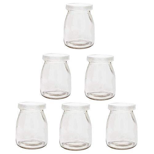 Joghurtgläser 6 Gläser mit Deckel, Gläser für Vorspeisen und Desserts ideal zum Anrichten und Präsentieren von Speisen, 150ml