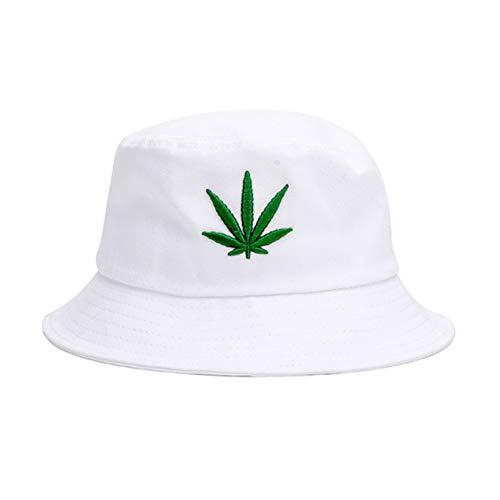 Weed-Bucket-Hat Gorra Marihuana Weed Leaf Cannabis Fisherman's Hat - El Snapback plegable Hombres Mujeres -  Blanco -  Talla única
