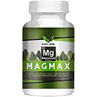 High Level Mag Max Pure Magnesium Glycinate 350mg - 60 Vegetarian Capsules | Made in USA