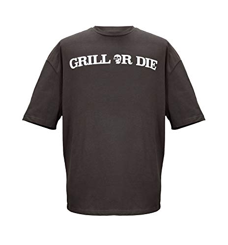 GRILL OR DIE Camiseta para hombre y mujer Heavy Oversize Classic Basic gris XL