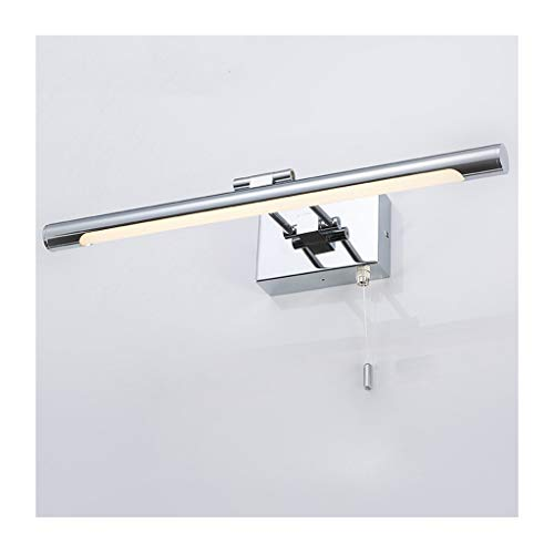 Lámpara Luz delantera del espejo LED Tocador del baño Lámpara de pared del faro del espejo Antiniebla Espejo del gabinete Luz Interruptor de línea colgante europeo Luces de baño (Color : Warm light)