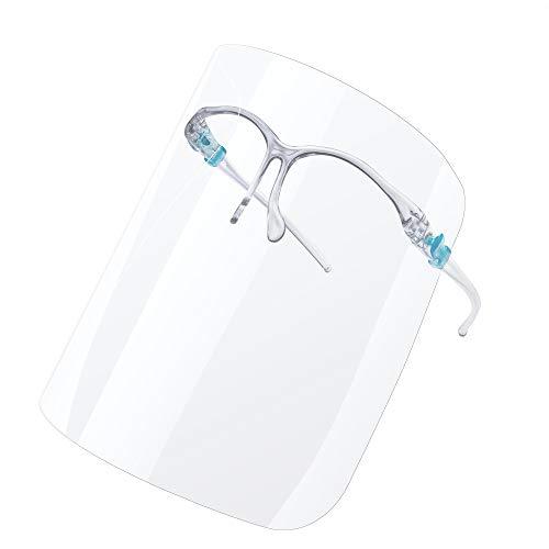 Urhome Gesichtsschutz 1 x Halterung mit 3 x Wechselfolie - Universales Gesichtsvisier zum Schutz vor Flüssigkeiten - Anti Beschlag Schutzvisier wiederverwendbar Face Shield Visier
