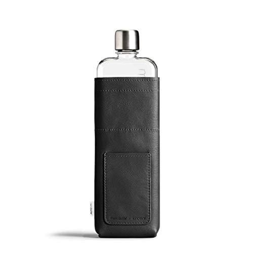 Schwarze Slim Leder SCHUTZHÜLLE | veganes Leder | für Slim memobottle WASSERFLASCHE