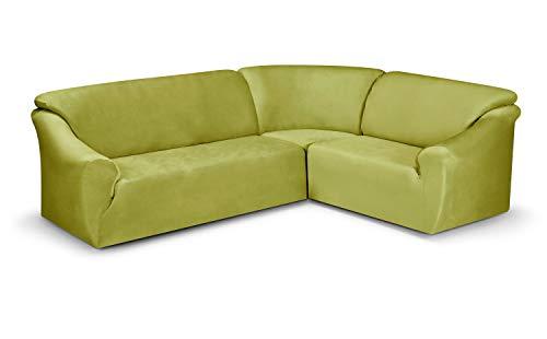 BEAUTEX Maya Samt Sofahusse für Ecksofa, Clubsessel, 1er, 2er, 3er Sitzer, elastische Stretch Husse, Farbe wählbar (Ecksofahusse Grün)