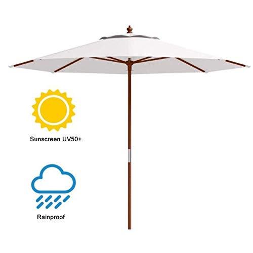 ZJDK 2,7 m Gartenschirm mit Holzstange, Outdoor-Sonnenschutz für Strand/Pool/Terrasse, runder Sonnenschutz 50+, cremefarben (Farbe: Beige, Größe: 2,7 m)