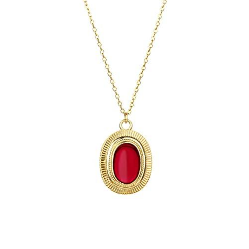 Collar largo con colgante rojo blanco dorado de plata 925 con cadena Rock Punk Joyería de fiesta de lujo Gems-Red