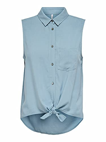 Only ONLNINA Life S/L Tie Shirt WVN Camiseta sin Mangas, Tejido Vaquero Mujer