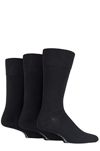 Glenmuir Mens 3 Pair Plain Comfort Cuff Socks 7-11 Herren Schwarz