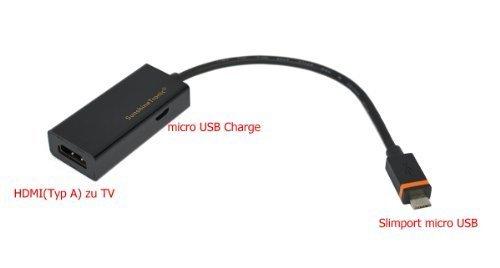 SunshineTronic Slimport Micro USB zu HDMI für Goole LG Nexus 5, Nexus 4, LG Optimus G 2, LG Optimus G PRO, LG G Pad, HP Chrombook 11, Fujitsu Stylistic QH582, Asus PadFone Infinity