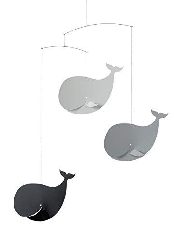 Flensted Mobile Happy Whales Mobile en acier Noir/gris 54 x 45 cm
