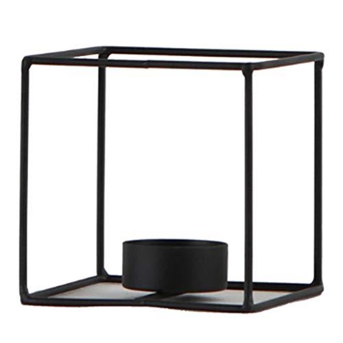 F Fityle Kerzenständer Schwarz Teelichthalter Geometrische Tischlicht Halter Kerzenleuchter Tischdeko - Stil 2