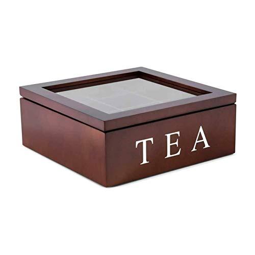 Xing Teebox aus Holz Luxeriöse Tee Aufbewahrung Box Holz, Aufbewahrungsbox mit 9 Fächern und transparentem Beobachtungsfenster zur Aufbewahrung von Teebeuteln und Kaffee (Braun)