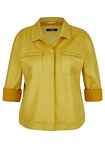 Frapp Chaqueta vaquera para mujer, color amarillo dorado con botones de presión mostaza 54