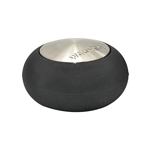 WAGNER Design-Boden-Türstopper Screw OR Glue/Schrauben oder Kleben - Durchmesser Ø 54 x 30 mm, Metall gebürstet, Edelstahloptik, thermoplastischer Kautschuk, Designpreis - 15517611