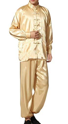 H&E Pijama de 2 Piezas Estilo Chino para Hombre Amarillo