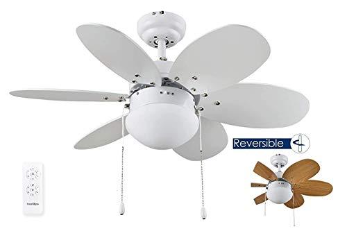 Bastilipo Menorca RC-Ventilador de Techo con Mando a distancia-60w y 75cm de diametro-e27 60w, Blanco/Pino, 75 cm (2857)