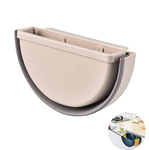 ZWC-tool Kitchen Wall-Mounted Folding Trash Bin, Hanging Trash Can for Cabinet Doors, Car Trash Bin, Home Trash Bin, Folding Box for Storing Various Rubbish,Beige
