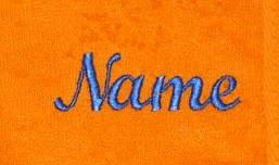 oranje Sauna Handdoek met blauw borduurwerk van uw naam