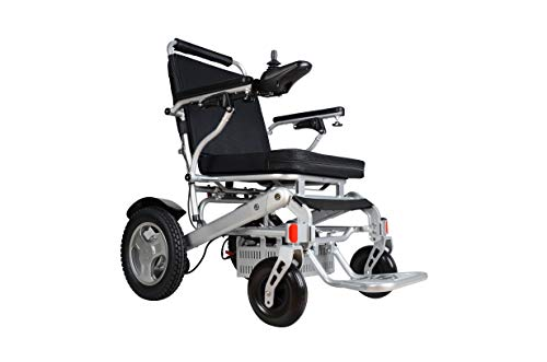 "Rubicon Best Rated Exclusive Deluxe Electric Wheelchair Motorized Foldable, Dual ""500W"" Motors, All Terrain, Dual Battery Portable Electric Wheelchairs(Silver Color - Seat Width arm-to-arm 19.8"")"