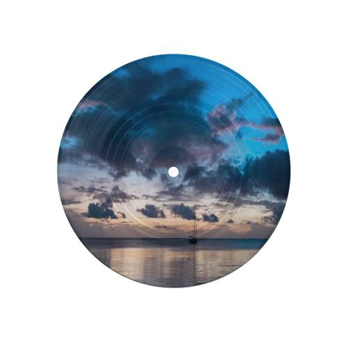 Posavasos de Disco para Bebidas,velero anclado bajo un increíble Colorido,Absorbente,6 Piezas de Posavasos de Disco de protección efectiva para Escritorio