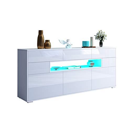 UNDRANDED 150cm Sideboard Kommode Anrichte Highboard 3 Türen 5 Schubladen Küche Buffet Schrank Hochglanz & Holz mit LED Beleuchtung (Weiß)