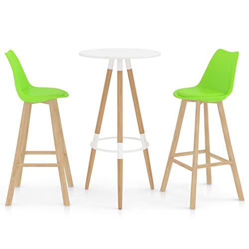 Susany Mesa Alta y taburetes de Bar 3 Piezas Taburete de Bar Muebles Cocina Silla de Comedor para Salon Cocina Mesa 48 x 53,5 x 105 cm Blanco Verde
